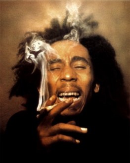 Bob Marley, high and smoking