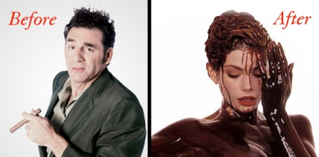 Humorous Before and After photo - Denise Richards covered in chocolate and Kramer Michael Richards with cigar