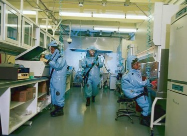 CDC hazmat suits and lab